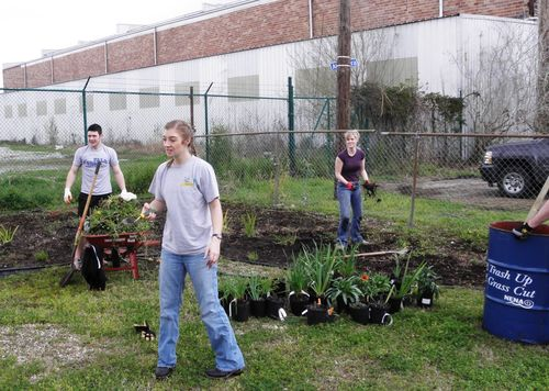 Rain Garden at park students from Buffalo
