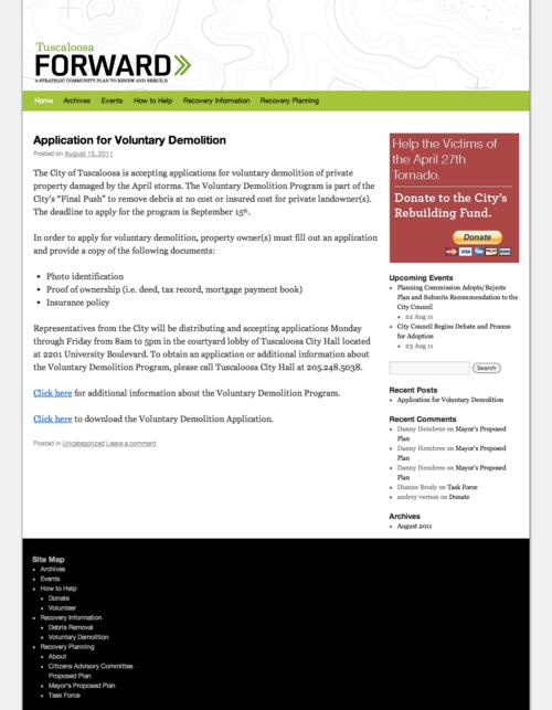 Tuscaloosa Forward   Community Blog for the Tuscaloosa Strategic Rebuilding Plan (20110822)