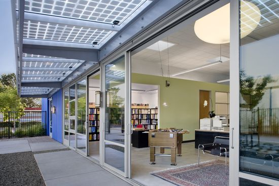 IDeA-Z2-Design-Facility-Office-in-San-Jose-California-South-Elevation-with-Sliding-Glass-Doors-and-Solar-PV-Shades