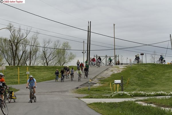 Coming Down Levee at Global Green
